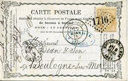 Carte Précurseur N°8  Storch N° OFF8 GRENOBLE 7 Mars 74 Pour Boulogne Timbre 15c Cérès Cote Voyagée 15€ En 2007 - Entiers Postaux