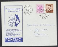 """Lunettes (Type Marchand) - 1068A Sur Lettre Illustré """"Pontiac Automatic (montre)"""" Obl Relais """"Keumiée"""" Vers Chatelineau - 1953-1972 Brillen"""