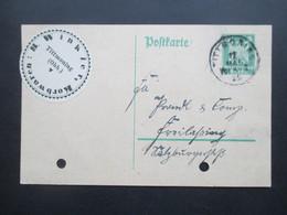 Deutsches Reich 1925 Reichsadler GA Mit Firmenaufkleber / Vignette B. Winkler Korbwaren Tittmoning (Obb.) - Deutschland