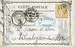 Carte Précurseur N°8  Storch N° OFF8 GRENOBLE 15 MARS 74 Pour Boulogne Timbre 15c Cérès Cote Voyagée 15€ En 2007 - Cartoline Precursori