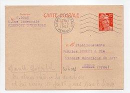 - Carte Postale MAISON DOAT, CLERMONT L'HERAULT Pour TISSAGES DUGUEY, FLERS (Orne) 16.5.1953 - - Enteros Postales