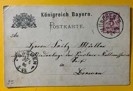 9814 -  Entier Postal 5 Pf. Violet Königreich Bayern München II 27.05.1886 - Deutschland