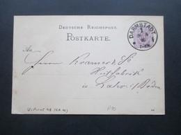 Deutsches Reich Reichspost 1886 Ganzsache P 10 Mit Klaucke Stempel Nr. 48 Darmstadt * F - Germany