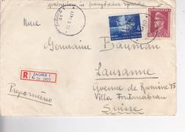 CROATIA  -  NDH  --   RECO BRIEF   --  1944     --  ZAGREB Nach LAUSANNE,  SCHWEIZ - Kroatien