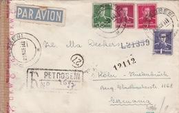 Roumanie Lettre Recommandée Censurée Pour L'Allemagne 1943 - Marcofilia