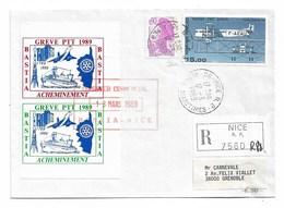Grève PTT 1989  BASTIA  NICE  GRENOBLE  13 Mars 1989   Liaison Régulière CORSE/CONTINENT Vol  AFN 2806 - Streikmarken