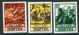 ALBANIA 1970 50th Anniversary Of Vlore Conflict MNH / **.  Michel 1439-41 - Albanie