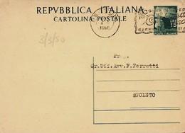 Intero C141 ; Perugia 3-3-1950 Per Spoleto ; Timbro A Targhetta - 6. 1946-.. Repubblica