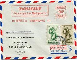 MADAGASCAR LETTRE PAR AVION AVEC AFFR. MIXTE MECANIQUE/TIMBRES DEPART TAMATAVE 28 AOUT 53 POUR MADAGASCAR - Madagascar (1889-1960)