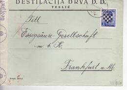 CROATIA  -  NDH  --    BRIEF   --  1941    --  TESLIC, BOSNIEN Nach FRANKFURT, DEUTSCHLAND  --  WERMACHT ZENSUR, CENZURA - Kroatien