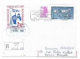 Grève PTT 1988  AJACCIO  NICE  Monestier Dévié Grenoble   Transport Cabine Vol A.F. 2608 - Streikmarken