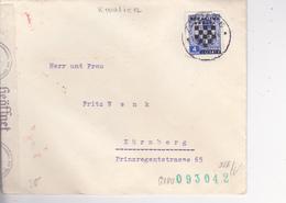 CROATIA  -  NDH  --A   BRIEF   --  1941  - ZAGREB Nach NURNBERG, DEUTSCHLAND  --  CRO CENZURA  +  WERMACHT ZENSUR, - Kroatien