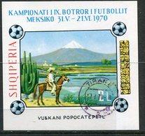 ALBANIA 1970 Football World Cup Imperforate Block Used.  Michel Block 38B - Albanie