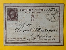 9825 - Entier Postal Carte Firenze 24.08.1874 Pour Roma - Ganzsachen