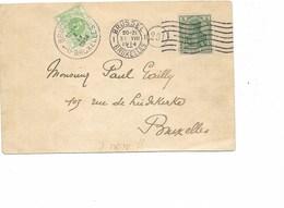 SH 0263. CP De BRUXELLES Affranchie TP GERMANIA 5 Pf BRUXELLES 1 - 31.VIII.1914 - TTX 3 BXL 1 - 1.IX.14 + C. FACTEUR. R - Guerre 14-18