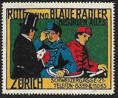 4105e: Vignette- Reklamemarke Rote Und Blaue Radler Zürich, ** Aus Ca. 1910 - Schweiz