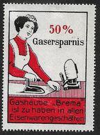 4105d: Vignette- Reklamemarke 50% Gasersparnis, ** Aus Ca. 1910 - Fabriken Und Industrien