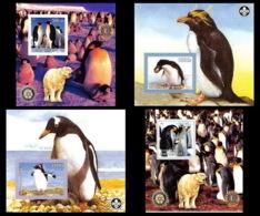 2000a/ Lot De 4 Blocs Oiseaux (bird Birds Oiseau) Neuf ** MNH Tirage Privé Vignette Pingouin (penguin Manchot) - Pingueinos