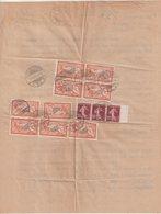 FRANCE : TYPE MERSON . FORMULE TELEGRAPHIQUEDE PRESSE . AFFRT A 18,60 F DONT 9 EX DU 2 F MERSON ORANGE . 1923 . - 1921-1960: Periodo Moderno