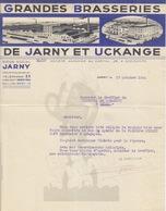 Lettre à Entête Illustrée De La Brasserie De Jarny Et Uckange Le 17 Octobre 1934 Pour Briey - Alimentos