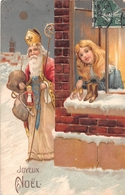 Carte Gauffré  -  Joyeux NOËL  -  Père NOËL  -  Petite Fille, Jouets  -  Illustrateur - Noël