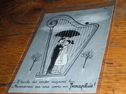 Escargot Parapluie Harpe Dessin De Peynet Les Amoureux - Old Paper