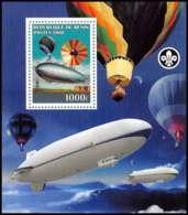 2179 Bloc Neuf ** MNH Tirage Privé Vignette Zeppelin Scout (scouting - Jamboree) - Bénin – Dahomey (1960-...)