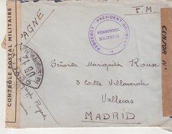 """FRANCE : EN FM . OBL PAQUEBOT """" PRESIDENT DOUMER """" . PERSONNEL MILITAIRE . DOUBLE CENSURE . POUR L'ESPAGNE . 1940 . - Postmark Collection (Covers)"""