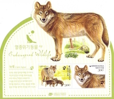 Korea, South - Wolf - Endangered Wildlife, Souvenir Sheet, MINT, 2015 - Dogs