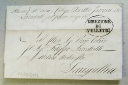 Prefilatelica Velletri-Senigallia - 22/10/1854 Con Testo - 1. ...-1850 Prephilately