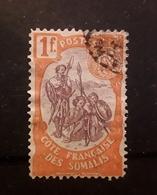COTE FRANCAISE DES SOMALIS , 1902, Yvert N° 50 , Guerriers , 1 F Rouge Orange / Brun Lilas,  Obl TB - Oblitérés