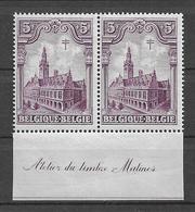 OBP72 In Paar, Postfris** Met Bladboord En Randinscriptie 'Atelier De Timbre Malines' - Nuovi