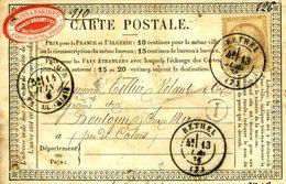 Carte Storch N° OFF22 Cote 6€ En 2007 TAD RETHEL 1876 Pour Boulogne 15c Cérès BOITE RURALE I Sault Les RETHEL Trous - Entiers Postaux