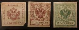 Osterreich Autriche Taxe Pour Journaux 1853 - 1890 Zeitungs Stempel 3 Timbres Neufs Yvert No 3 A (*), 8 *, 9 * Cote 80 E - Zeitungsmarken