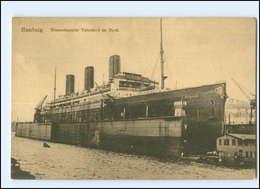 Y14002/ Dampfer Vaterland Im Dock Hafen Hamburg Ca.1920 - Steamers