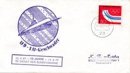 """(UB)BRD Umschlag Mit Cachet-Zudruck """"Unterseeboot U9 - 1.U-Geschwader 10 Jahre Im Dienst"""" EF BRD Mi 875 TSt 11.4.77 KIEL - Submarines"""