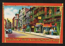 "U.S.A.  ""MANHATTEN POSTCARD PUBLISHING CO. "" VINTAGE LINEN POSTCARD CHINA TOWN (PC-19) - Manhattan"