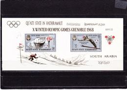 ADEN QUAITI HADRAMAUT 1967 Jeux Olympiques De Grenoble Michel BF 11 A NEUF** MNH - Aden (1854-1963)