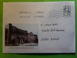 Lettre Illustree AUTUN, Saône Et Loire , La Porte De Langres Dite Saint André, 2 Janvier 2020 , TB - Postmark Collection (Covers)