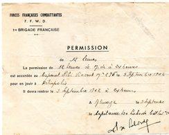 FORCE FRANÇAISES COMBATTANTES PERMISSION 1942 - 1939-45