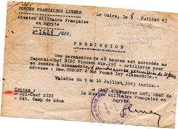 FORCE FRANÇAISES LIBRES PERMISSION 1943  EGYPTE -LE CAIRE - 1939-45
