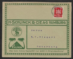 1926 Dt.Reich - EF 10 Pf Mi. 357 - ILLUSTRIERTER WERBEUMSCHLAG - H.SCHLINCK KOKOS SPEISEFETT - Deutschland