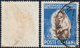REPUBBLICA ITALIANA FRANCOBOLLO SERIE CONFERENZA EUROPEA DEL TABACCO L. 55 FILIGRANA LETTERE ND SINISTRA USATO ◉ - 631 - Variedades Y Curiosidades