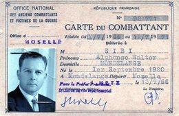 CARTE DU COMBATTANTS - 1939-45