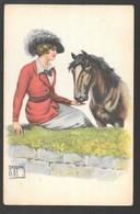 Cpa...illustrateur Italien...Rappini...art Nouveau...jeune Femme élégante Avec Son Cheval - Illustrateurs & Photographes