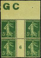 N° 137 5c Semeuse Vert Bloc De 4 Manchette GC Mill 6   Qualité:** Cote: 60 - Millésimes