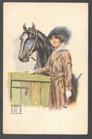 Cpa...illustrateur Italien...Rappini...art Nouveau...jeune Femme élégante Avec Son Cheval Au Box .... - Illustratoren & Fotografen
