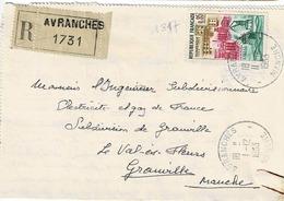 TP N° 1317 Seul Sur Enveloppe En Recommandé De Avranches - 1961-....