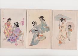 3 Jolies  Cpa Japonaises Fantaisie / Femmes En Costume Traditionnel - Japon