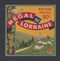 Etiquette  Fromage Carré  -  Régal De Lorraine   -  LC  -  Fabriqué En Lorraine - Fromage